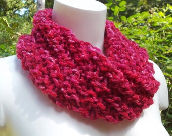 Red Knit Cowl,  Circular Loop Scarf, Infinity Scarf, Sassy Apples Red Cowl,  Womens Accessory