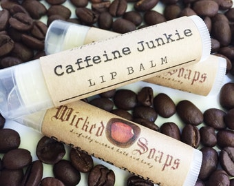 Caffeine Junkie Lip Balm -  Natural Lip Balm, Cocoa Butter Lip Balm, Beeswax Lip Balm