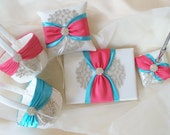 Coral and Blue Wedding Guest Book, Pen Stand, Pillow, and Baskets