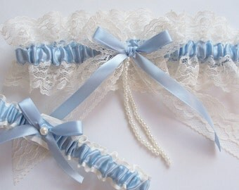 Wedding Garter Set, Lace Garter and Toss, Dusty Blue or Champagne Wedding Garter with Lace Bow and Pearl Detail - The VERONICA Garter Set