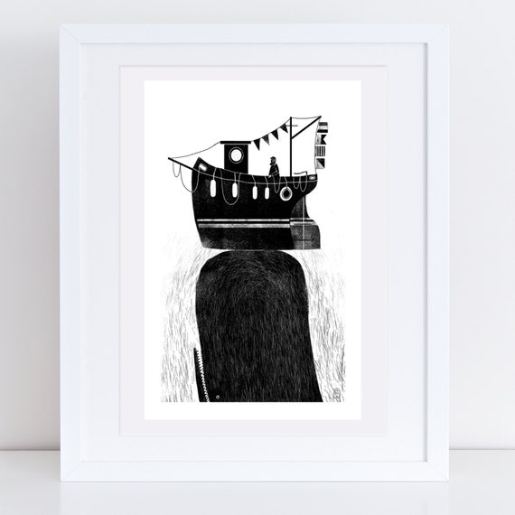 Whale & Fishing Boat - Signed print