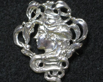 Vintage Sterling Silver Brooch Woman with Flowing Hair