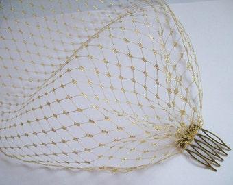 Metallic Gold Russian Veiling Birdcage Bandeau Blusher Wedding Bridal Veil - Comb Attachment