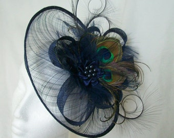 Light Navy Blue Peacock Feather  Sinamay Saucer Pheasant Curl Feather Loop & Pearl Crystal Fascinator Saucer Hat Royal Ascot - Made to Order