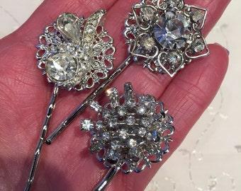 Vintage Rhinestone Hair Pins Bobby Pins Bridesmaid Wedding Prom Art Deco Silver Doodaba