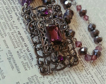 Isabella Antique Assemblage Purple Jewel Filigree Necklace Repurposed Jewelry
