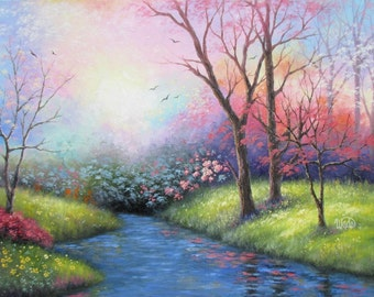Spring ORIGINAL Painting 18X24 landscape painting, river, flowers, trees, floral landscape, scenery, wall art, home decor, Vickie Wade Art