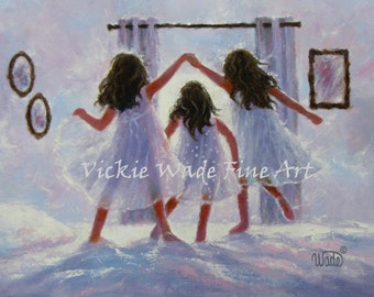 Three Sisters Art Print, three girls bedroom wall art decor, three best friends, jumping on the bed, london bridges,  Vickie Wade art