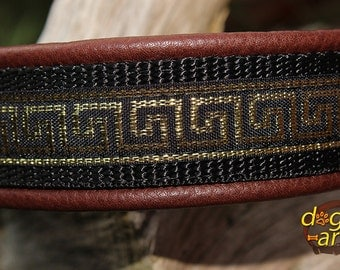 "Dog Collar ""Greek Key"" by dogs-art, greek key collar, martingale collar, custom dog collar, dog collar gold, leather dog collar, dog collar"