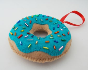 Blue Cotton Candy Glazed Donut Ornament With Sprinkles