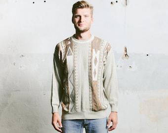 Mens 90s AZTEC Print Sweater . Coogi Style Vintage Patterned Boyfriend Sweater Beige Brown Pullover Jumper 1990s Geometric . sz Medium Large