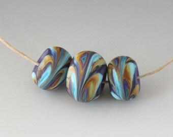 Southwest BHB Set - (3) Handmade Lampwork Beads - Lavender Blue, Caramel - Matte, Etched
