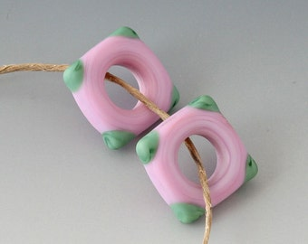 Southwest Square Pair - (2) Handmade Lampwork Beads -  Pink, Green - Etched, Matte