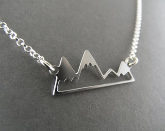 mountain necklace, mountain jewelry, silver mountain necklace, silver mountain range, mountain range necklace