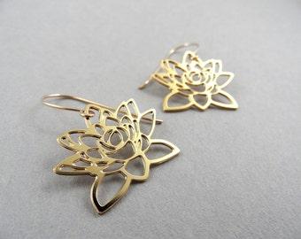 lotus earrings, gold lotus earrings, little lotus earrings, flower jewelry, flower earrings, gift under 50