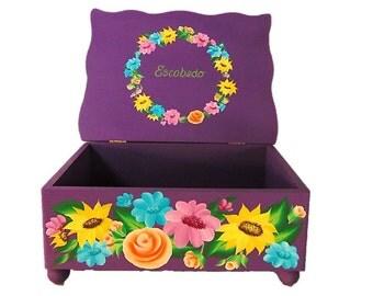 Hand Painted Wedding Card Box - Bright Fiesta Flowers on Violet Purple, Large Personalized Box - Wedding Keepsake Box Custom Memories Box