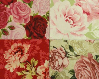 """Quilting Squares, 5"""" Quilting Squares, Shabby Chic, Cabbage Roses, Rose Fabric, Quilting Supplies, Sewing Supplies, Pink Roses, Red Roses,"""