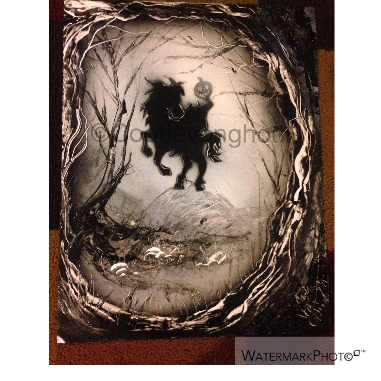 Headless Horseman Sleepy Hollow: Sleepy Hollow Headless Horseman Original Spray Paint Art
