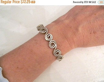 15% Off Memorial Day Sale Jewelry. Vintage. Sterling Silver Artisan Cuff // Stamped 925