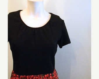 ON SALE vintage.   60s Black Maxi Dress with Red IKAT Print Skirt  // S