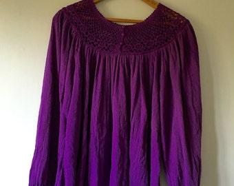 Rare BILA Purple Gauze Tunic Top • Boho Top • Freespirit Angel Sleeve Top