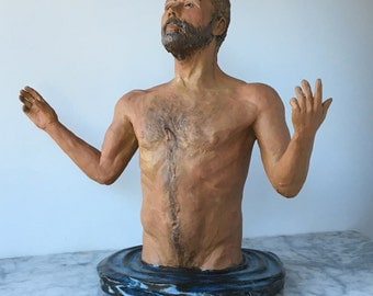 Ceramic figure sculpture of a man in water, nude figurine, Open to the mystery, torso
