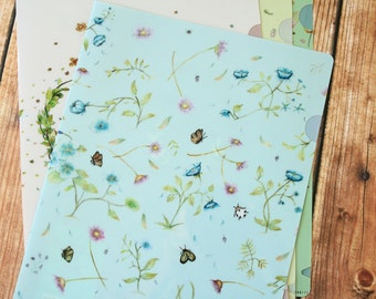 Blue Floral Bloom cartoon A4 File Folder