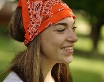 Motorcycle Headband, Orange Kerchief, Motorcycle Head Wrap, Kerchief Head Cover, Orange Bandana Kerchief (#3010) S M L