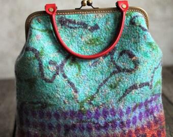 Felted handbag wool cluch women purse retro arlequin colorful hobo bag teal bag genuine leather handle lined bag pocket antique closure