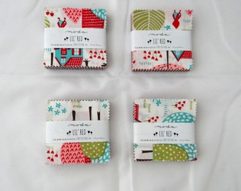 LIL RED (4) mini charm packs Moda Candy precuts Folktale Fairytale modern quilting fabric squares Stacy Iest Hsu aqua red pink