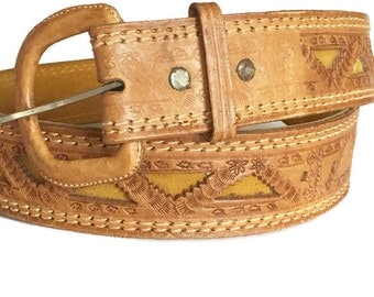 Vintage Leather and Suede belt,Chunky Tooled Leather Belt, Southwestern
