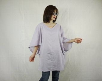 Boho Casual Elegant Plus Size 3/4 Sleeve Drop Shoulder V Neck Azo Free Color Pale Purple Light Cotton Blouse Women Top - SM699