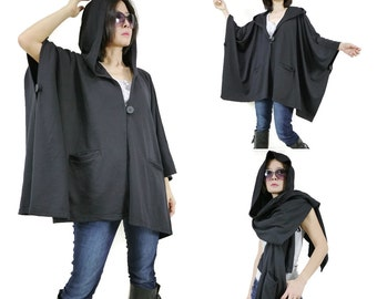 Chic Modern Casual Oversize Black Jersey Hooded Poncho Coat Cloak Cape Women Men Jacket Coat Cardigan Sweater Scarf Shawl With 2 Pockets