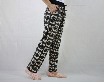Casual Boho Funky Gpysy Resort Black And Beige Printed & Black Tie Dyed Cotton Jersey Pants With Elastic Waist And 2 Pockets
