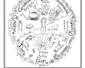 Adult Colouring In PDF Download Celtic Welsh Pagan Calming Mindfulness Henna Zen Mandalas Flower Anti Stress