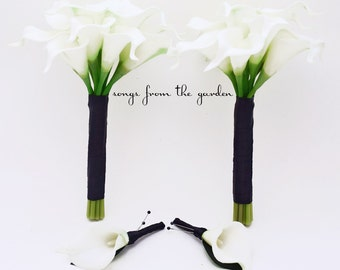 Wedding Flower Package Real Touch Calla Lily Bridesmaids Bouquets Choose Your Wedding Colors