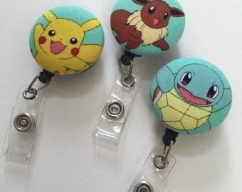 ID Badge Holder Retractable in Pokemon, Gotcha Catch Em all, Pikachu Badge Reel, Badge Reel, Eevee ID Badge Reel, Badge Holder, Pokeball