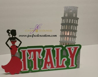 Italian table centerpiece with Leaning Tower of Pisa