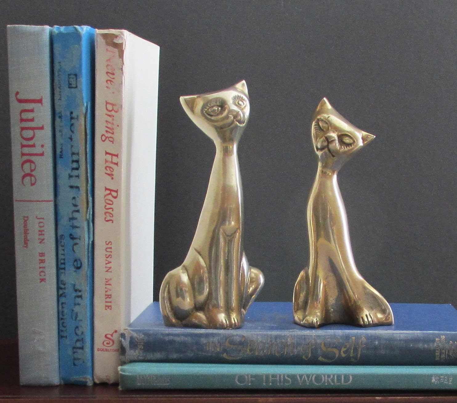 MCM Vintage Home Decor Quirky Animals Cats 2 Brass