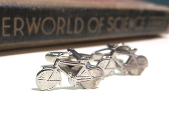 Antiqued Silver Bicycle Cuff Links - Bike Cycling Racing Wedding Cufflinks Soldered Antique Small Biking