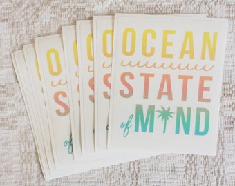 Ocean State of Mind Stickers // Free Shipping