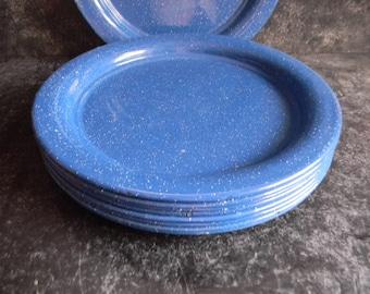 Blue Speckled Graniteware metal Plates camping equipment serving dinnerware set of 5