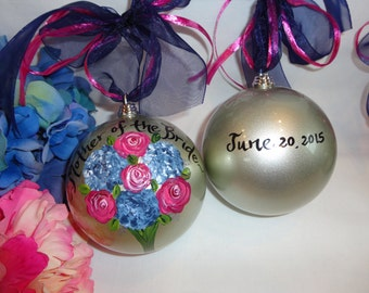Personalized Mother of the Bride, Mother of the Groom, Bridesmaid Ornaments, Bridal Party Ornamnets, PERSONALIZED To YOUR Wedding Flowers!