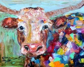 Original oil painting Longhorn canvas cow palette knife modern texture fine art impressionism by Karen Tarlton