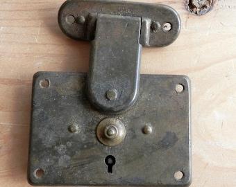 antique vintage trunk latch lock box lock brass plated