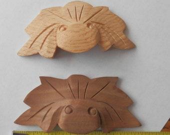 Oak or Walnut hand carved drawer pulls