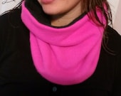 Cashmere cozy neckwarmer, tube scarf, reversible, one size, pink, black, womens