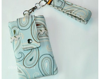 Paisley Phone Case with Wristlet Optional Shoulder Strap - Niagra Blue - iPhone Plus 4 5 6 Samsung Galaxy Note LG