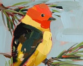 Western Tanager no. 15 original bird oil painting by Angela Moulton 6 x 6 inch on birch plywood panel pre-order