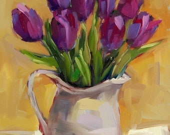 Purple Tulips in Pitcher original still life floral oil painting by Angela Moulton 14 x 11 inch on canvas pre-order